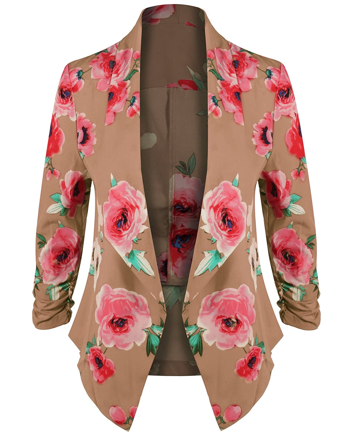 HOT FROM HOLLYWOOD Women's Lightweight Open Cardigan Blazer Jacket 3/4 Sleeves in Solid Floral Print 7037