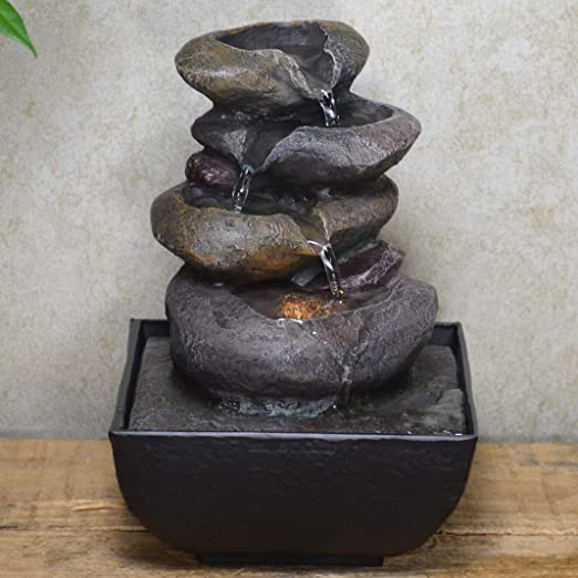Prezents Bucket Cascade Water Fountain With LED Light Perfect Indoor Water Feature Gift Ideas H18cm