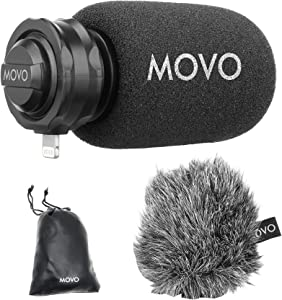 Movo LPM100 MFi Certified Lightning Directional Stereo Cardioid Microphone Compatible with iPhone, iPad, iPod, iOS Smartphones and Tablets