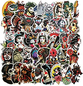Honch Tattoo Stickers Pack 50 Pcs Suitcase Stickers Vinyl Decals for Laptop Bumper Helmet Ipad Car Luggage Water Bottle