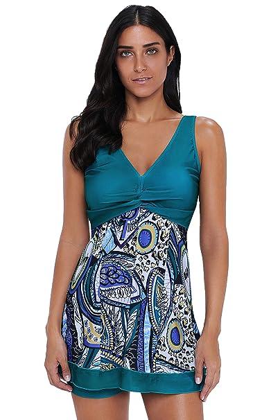 34fc1296334f7 Wellwits Women's Print Knot Swing Tank Top Boyshorts Tankini Swimsuit at Amazon  Women's Clothing store: