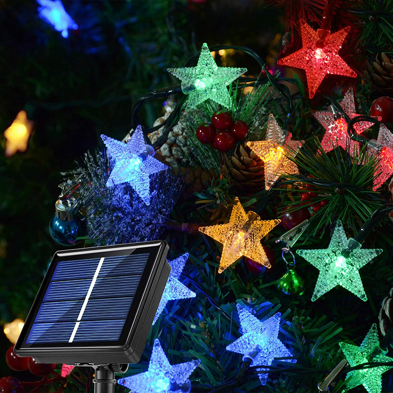 30Ft 50LEDs Solar Colored Christmas Lights Outdoor Star String Lights,8 Modes Waterproof Twinkle Fairy Solar Lights String for Outdoor Garden Patio Wedding Holiday Party Xmas Tree Decor