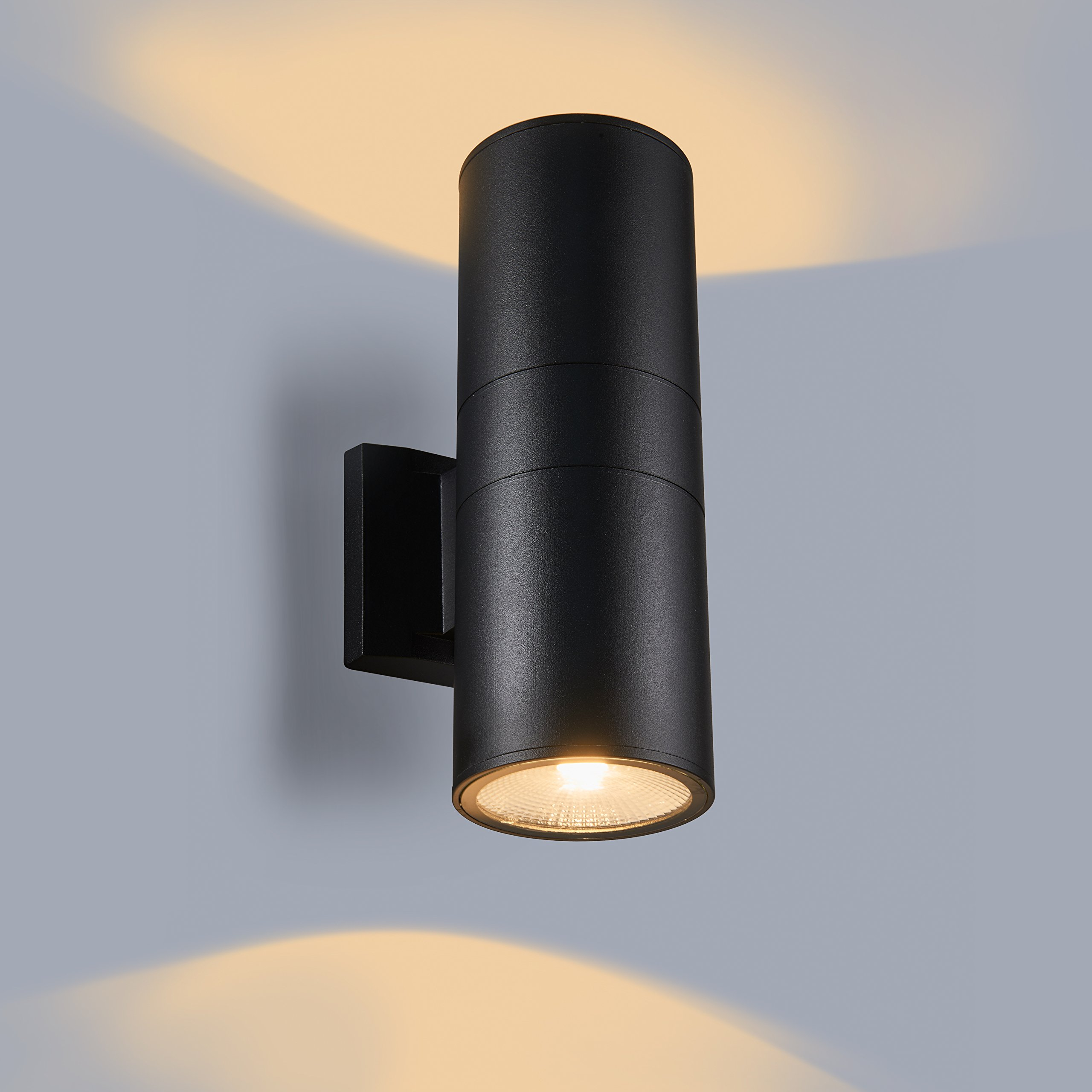 MICSIU Two-Light Wall Sconce, LED Aluminum Wall Mount for Either Outdoor and Indoor use. Outdoor Wall Lamp. UL Listed. Textured Black(up/Down Light)