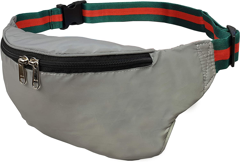 Roamlite RL626GU - Bolsa reflectante XL para correr, ciclismo, Clubbing y festivales, bolsa de viaje con correa de diseñador en color plateado