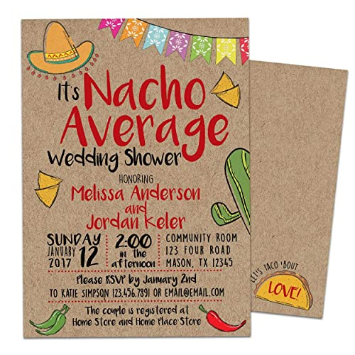 nacho average bridal shower invitations kraft fiesta wedding shower invite