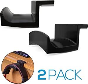 Brainwavz Roost 2 Pack Large Desktop Headphone Hanger Stand for Audio & Gaming Headsets with Large Width Headbands, Mounts on Desktop, No Screws or Glue, Holds Heavy Headphones (Black, Large)
