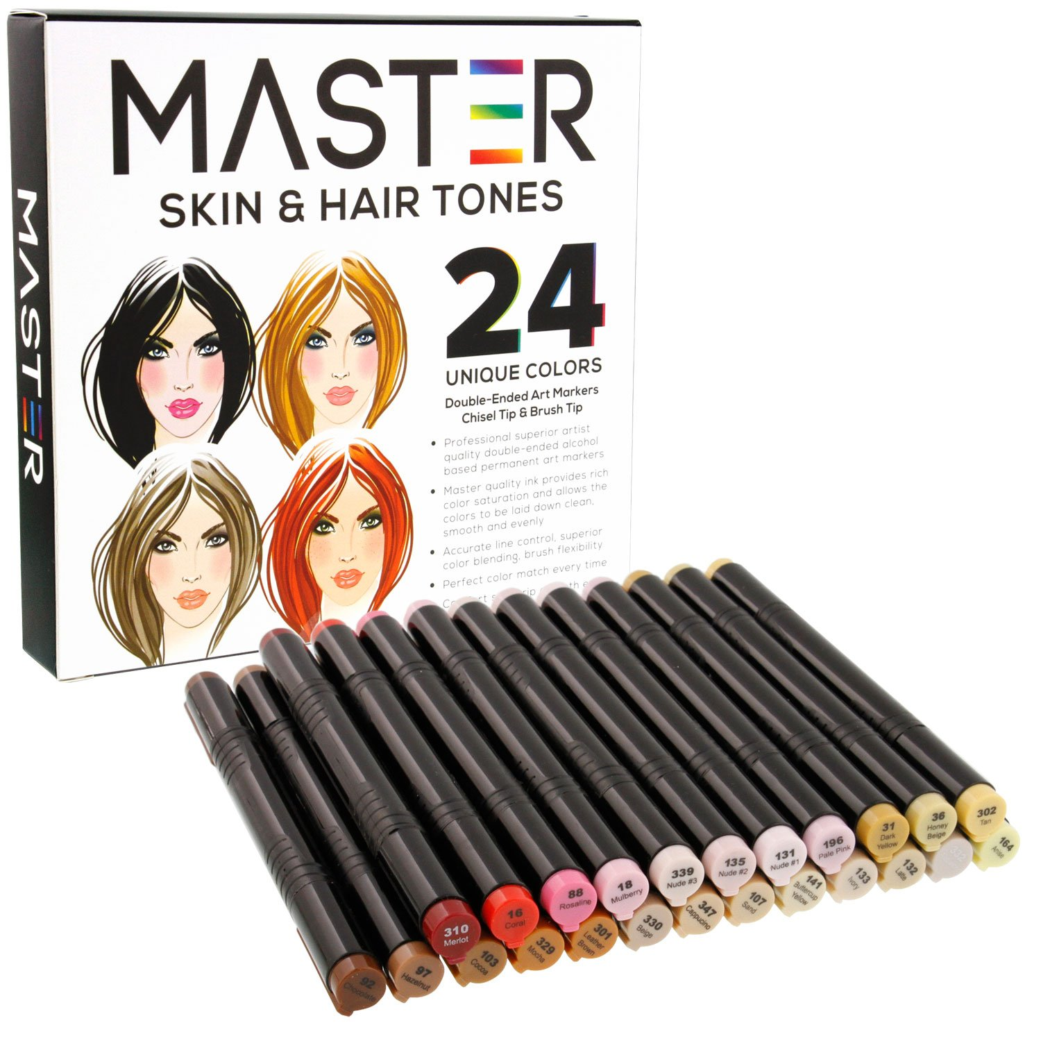24 Color Master Markers Skin & Hair Tones Dual Tip Set - Double-Ended Art Markers with Chisel Point and Standard Brush Tip - Soft Grip Barrels - Flesh, Face, Manga, Portrait, Illustration, Sketch