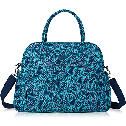 f6860f30b289bc Amazon.com: Lily & Drew Carry On Weekender Overnight Travel Shoulder Bag  for 15.6 Inch Laptop Computers for Women (Leaf Blue): Computers &  Accessories