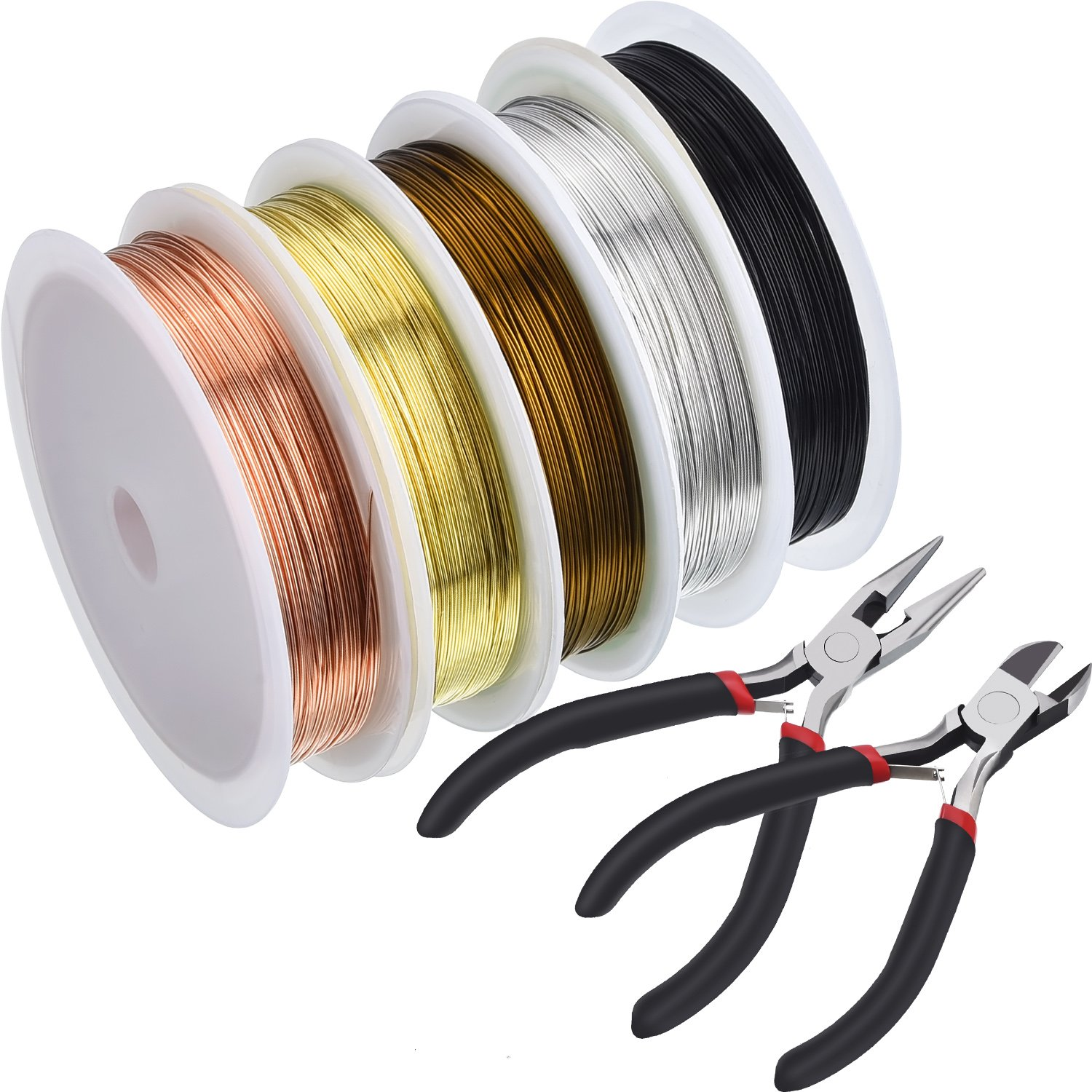 5 Rolls Jewelry Beading Wire Soft Copper Wire with Cutting Pliers Nose Pliers Repair Tools Kit Jewelry Pliers for Crafts Beading Jewelry Making TecUnite 4336834155