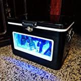 BREKX 54QT Double-Walled Black LED Party Cooler with Window - Extended Chiller