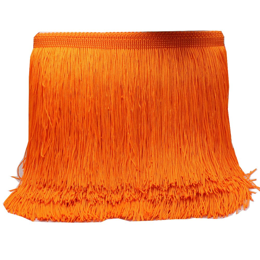 Yalulu 10/ metres latine /à franges avec galon Dentelle macram/é latine Samba Dance V/êtements Rideau Bordure en dentelle Polyester Bande unique 5Yards*4.5cm Orange