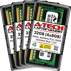 A-Tech 32GB (4x8GB) DDR3 / DDR3L 1600MHz SODIMM PC3L-12800 2Rx8 1.35V CL11 Non-ECC Unbuffered 204-Pin SO-DIMM Notebook Laptop RAM Memory Upgrade Kit