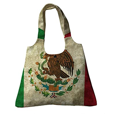 Amazon.com  Custom Mexican Flag Grunge Vintage Style Home Decor Canvas Shoulder  Bags Handbags Tote Bags Shopping Bag  Shoes 8e188d3f494ae