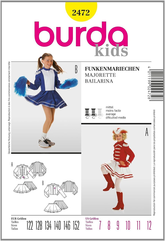 Burda Schnittmuster 2472 Funkenmariechen Gr. 122-152: Amazon.de ...
