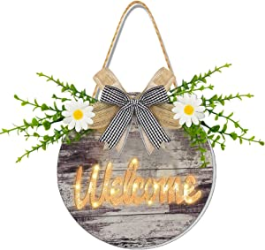 AMENON Pre-lit Welcome Wreath Sign for Front Door, Wooden Hanging Sign for Front Porch Farmhouse Porch with Timer Artificial Eucalyptus Front Door Sign for Home Indoor Outdoor Wall Decor Summer Wreath
