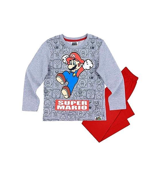 Mario Bros Pijama dos piezas - para niño gris y rojo 10 años