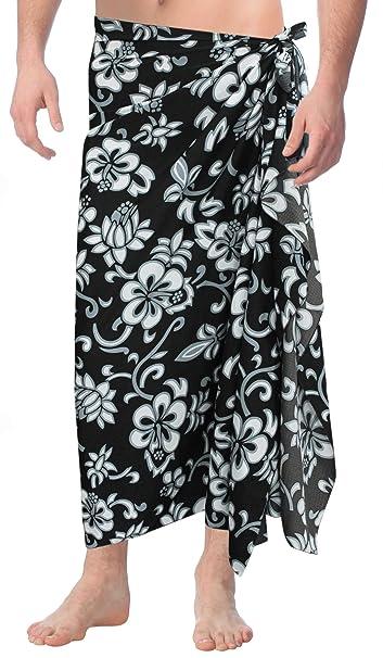 "417a8b45bffaa LA LEELA Soft Light Printed Swimsuit Wrap Pareo Mens Beach  72""X42"" Black_3032"