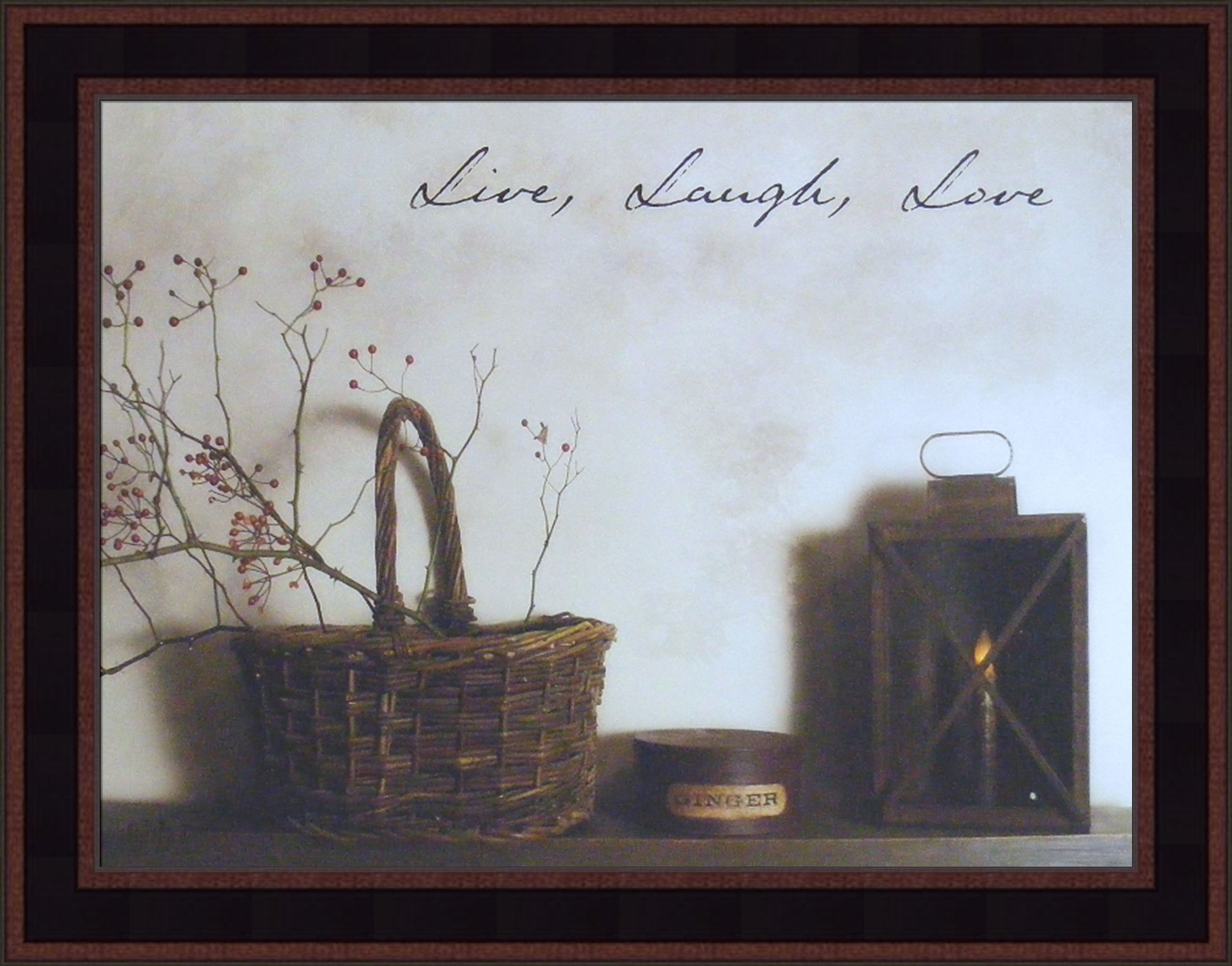 Live Laugh Love by Billy Jacobs 15x19 Country Rustic Basket Candle Primitive Photography Folk Art Wall Décor Framed Picture