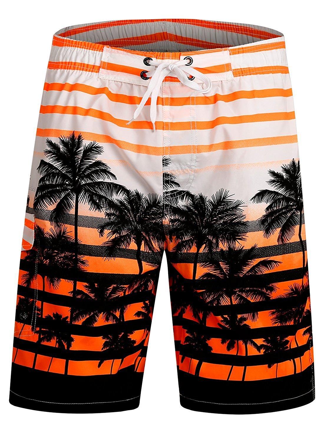 ICEbear Mens Swim Trunks Quick Dry Water Beach Board Shorts Cool Sportwear,Orange,2XL