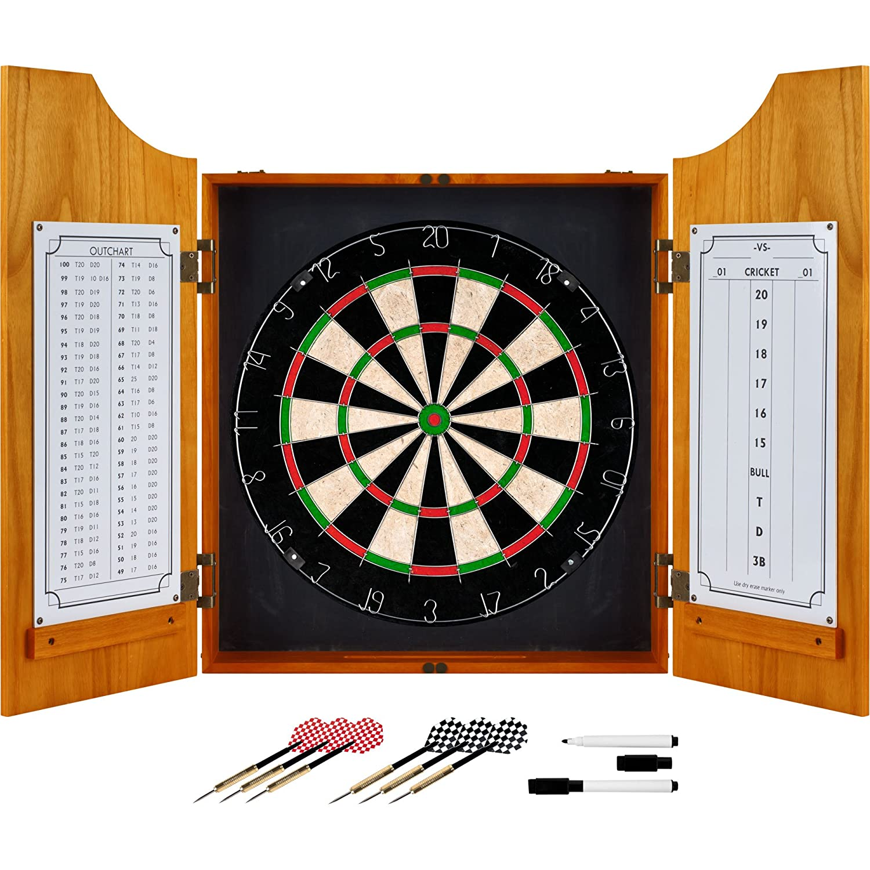 TG Trademark Gameroom Solid Wood Dart Cabinet Set Trademark Global 15-9000PLAIN