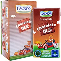 Lacnor Essentials Chocolate Milk, 100% Natural, Rich in Vitamin and Calcium, 125 Ml Pack of 24