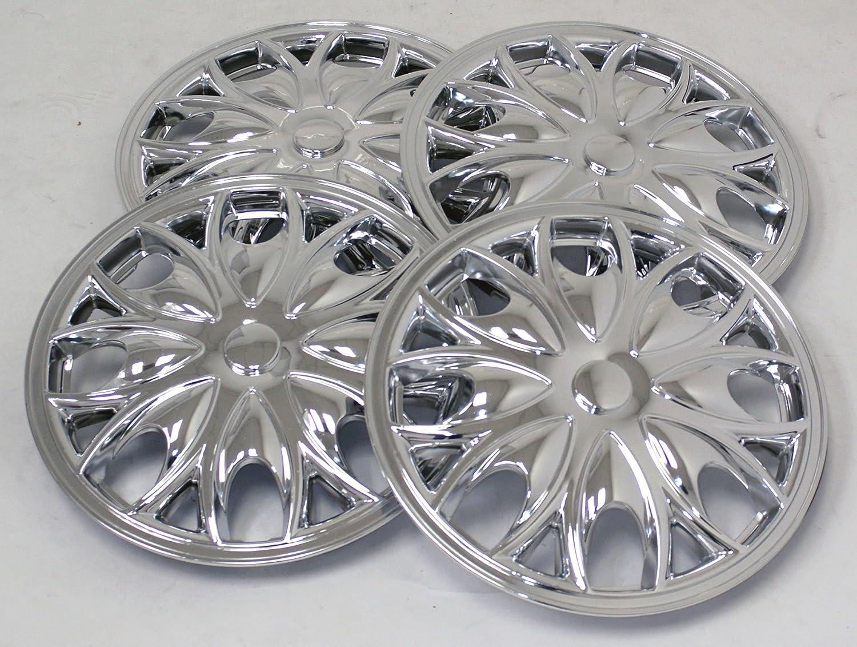 tuningpros wsc-526 C15 cromo Tapacubos rueda Skin Cover 15-inches plata conjunto de 4: Amazon.es: Coche y moto