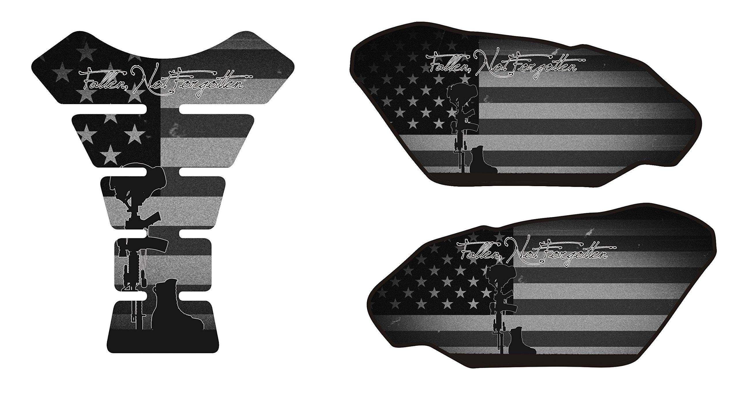 Fallen Soldier Black Motorcycle Tank Pad Side Protectors and Center Tank Pad Kit Universal Compatible with Honda Yamaha Kawasaki Triump Suzuki Motorcycles Protection