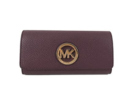 3f637f72470f Buy Michael Kors Fulton Flap Continental Leather Clutch wallet in Plum  Online at Low Prices in India - Amazon.in