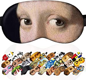 Sleep Mask Girl with a Pearl Earring Jan Vermeer Masterpieces for Women - 100% Soft Cotton - Comfortable Eye Sleeping Mask Cover Blindfoldfor Travel (Girl with a Pearl Earring, Plastic Pack)