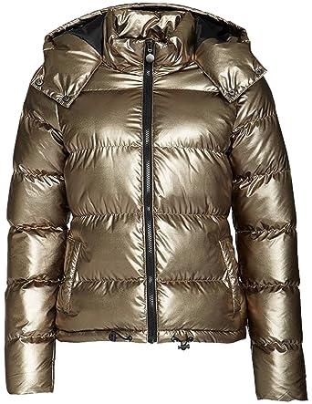 Metallisch Frauen Kapuze Mit Padded Winterjacke Glänzend k80PwOn