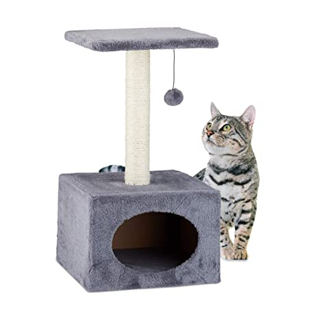 Relaxdays Árbol Rascador para Gatos con Cama Cueva, Sisal, Gris, 56 x 31