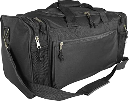 DALIX 17 Lightweight Gym Duffle Bag with Water Bottle Holder Sports Duffle Bag