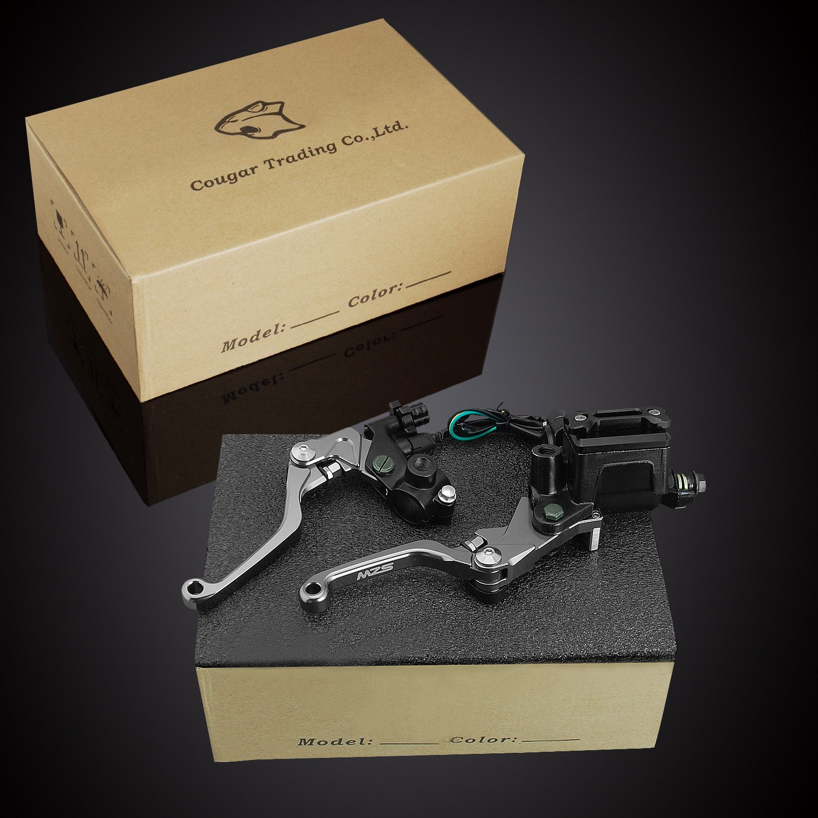 MZS 7/8 Brake Master Cylinder Reservoir Pivot Levers Set for Honda Yamaha Suzuki Kawasaki KTM (Gray) by MZS (Image #9)