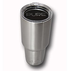 HUGE 40 Oz. Stainless Steel Vacuum Insulated Tumbler By Pure, Double Wall Insulated, Keeps Your Coffee Or Tea Crazy Hot And Holds Ice Longer Than Any Other Cup On Planet - Rustproof And Shatterproof