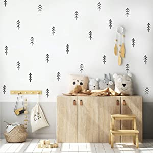 Woodland Trees Forest Wall Decals, Removable Vinyl Stickers for Nursery, Kids Baby Room, Bedroom, School, Living Room, Scandinavian DIY Home Decor (Black)