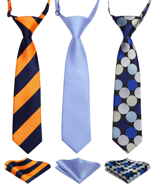 Enlision 3pcs Boys Pre-Tied Neckties & Pocket Square Set Neck Strap Tie for Kids Brown/Green/Navy Blue