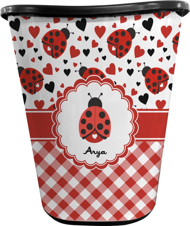 RNK Shops Ladybugs & Gingham Waste Basket - Double Sided (Black) (Personalized)