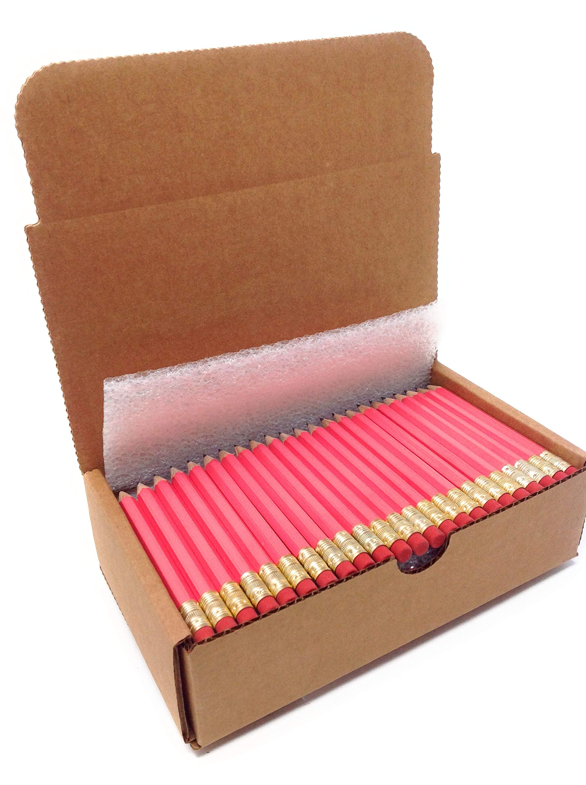 Half Pencils with Eraser, Golf, Classroom, Events, Hexagon, Sharpened, Box of 144, Color: Pink by beacon-ridge (Image #2)