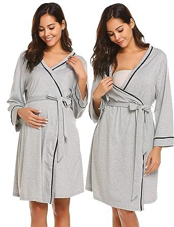 8cd024459d5 Ekouaer Women s Maternity Dress Long Sleeve Nursing Nightgown for Breastfeeding  Sleepwear Grey