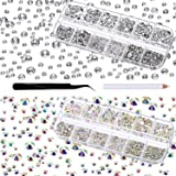 4000 Pieces Glass Flatback Gemstones Round Flat Back Rhinestones 6 Sizes 1.5 mm-6 mm in Box with Tweezer and Rhinestones Picking Pen for Nail Face Art (Crystal AB and Clear)