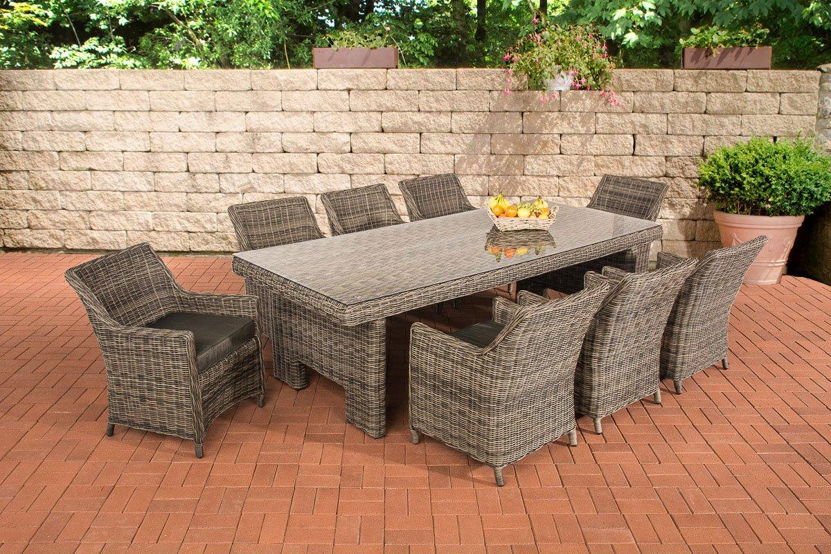 CLP Poly-Rattan Sitzgruppe SANDNES XL, 5 mm RUND-Rattan (8 Stühle + Tisch ca. 250 x 110 cm) Rattan Farbe grau-meliert, Bezugfarbe anthrazit