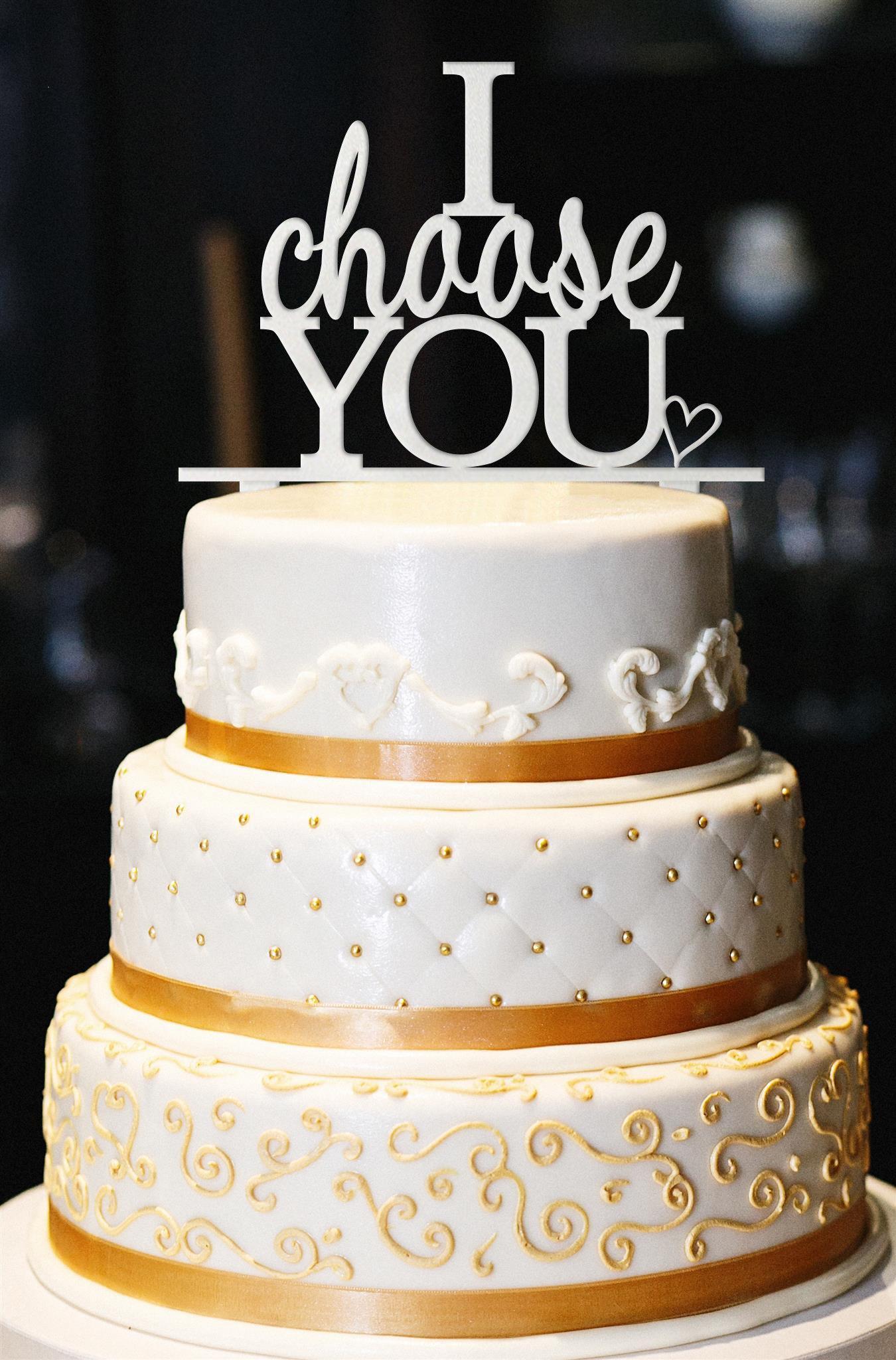 I Choose You w/ Heart Wedding Cake Topper, Glitter Wedding Cake Topper, Engagement Cake Topper, Gold Cake Topper, Gold Glitter Topper (15'', Pearl White)