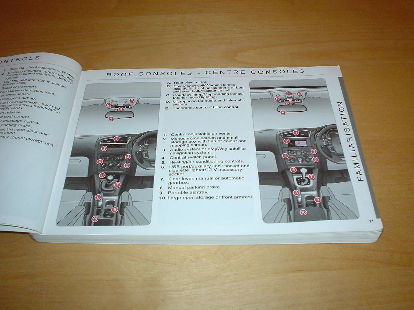 Citroen C4 Owners Handbook C W Wallet 2010 2014 14 16 Litre Cigarette Lighter Fuse Vti Thp Petrol 20 Hdi 90 110 150 Diesel Engines Hand Book Manual