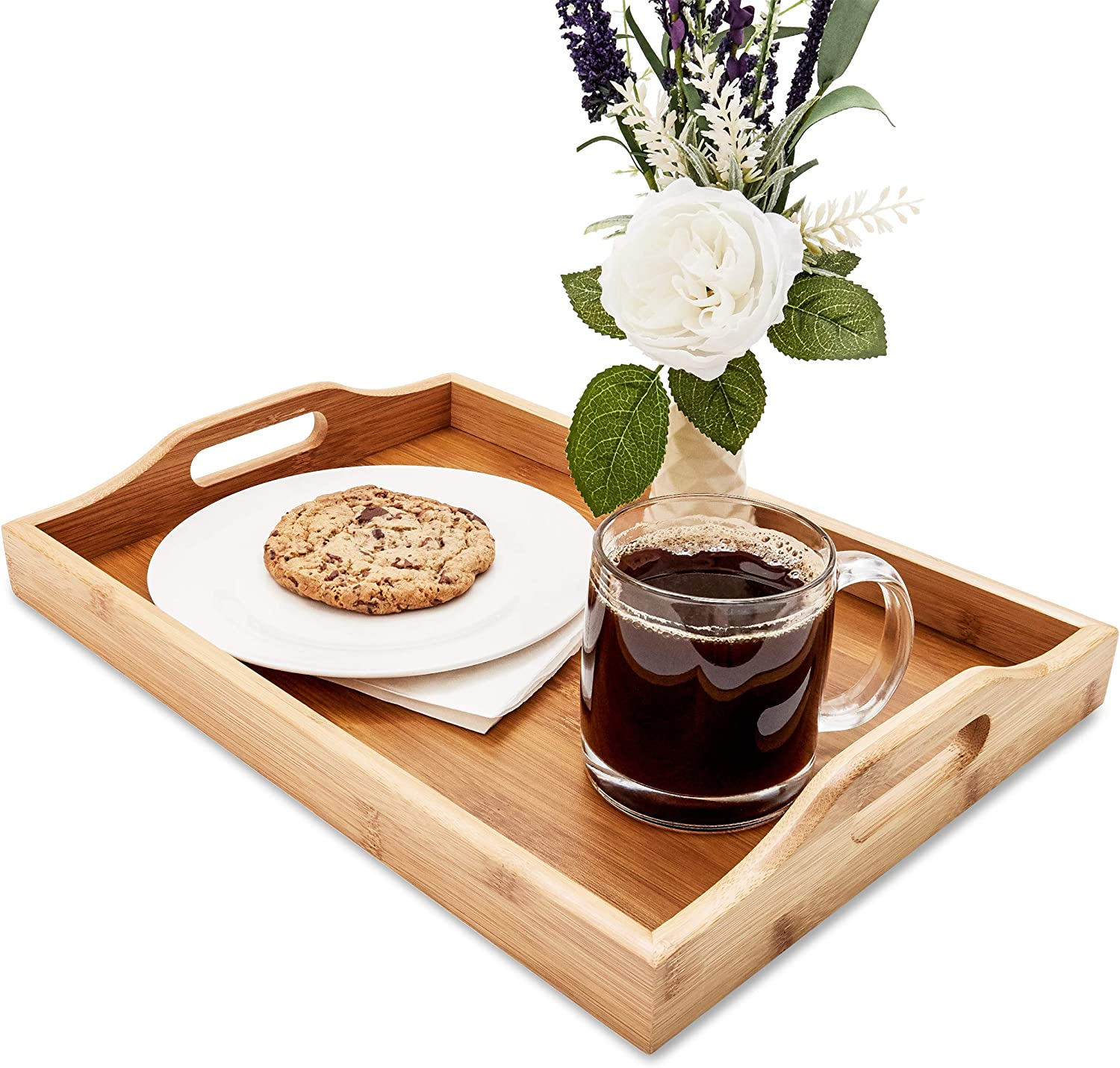 Juvale Wood Food Serving Tray with Handles, 16 x 11 x 2 Inches