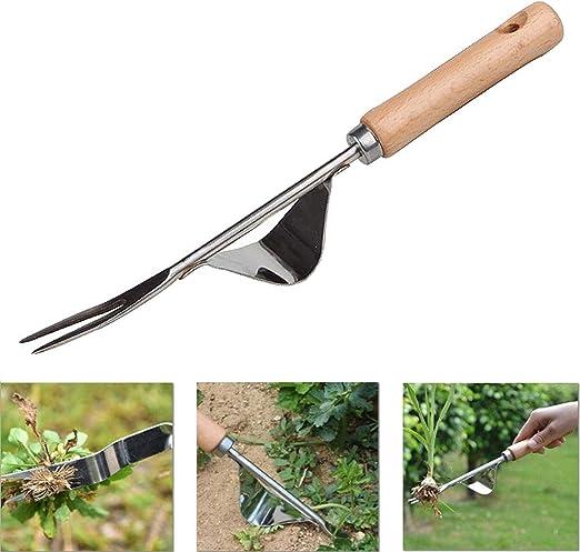 YAVO-EU Eliminar Malas Hierbas Extractor Quita Desherbador Manual Horquilla de Mango de Madera Desmalezador de Jard/ín De Acero Inoxidable