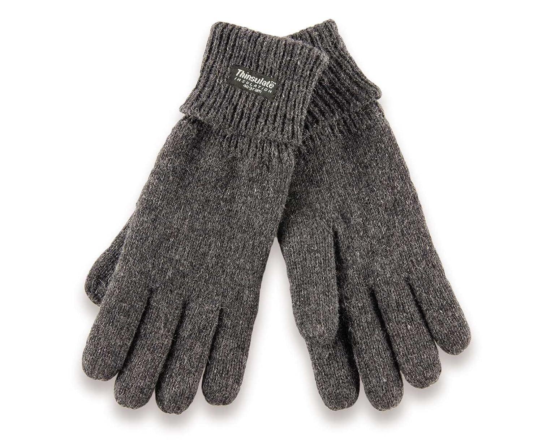 H-COM-2grLXL gestrickte Thinsulate Handschuhe mit Fleecefutter - Fingerhandschuhe für Damen und Herren L XL grau