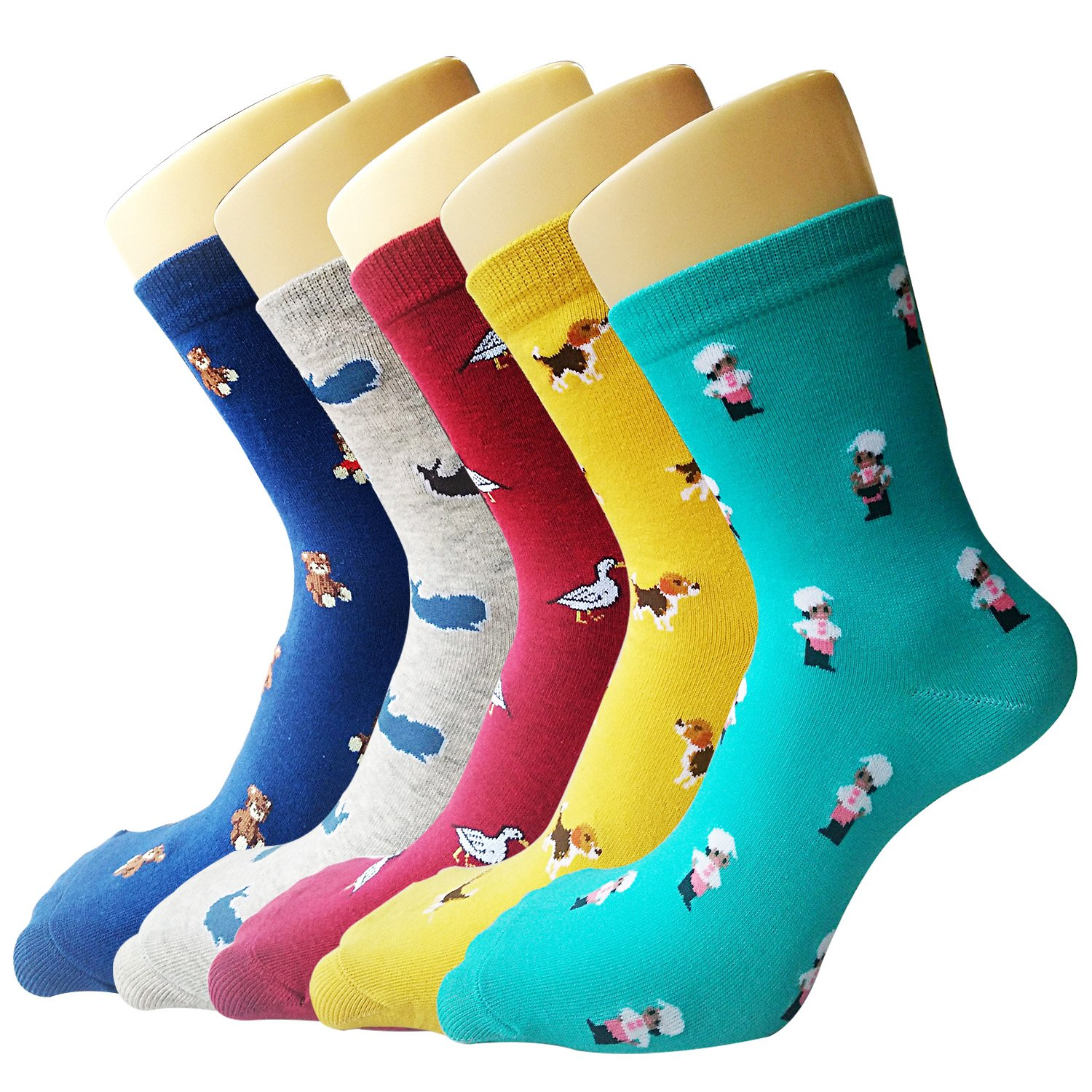 YSense 5 Pairs Womens Cute Funny Socks Casual Cotton Crew Animal Socks JANPS1