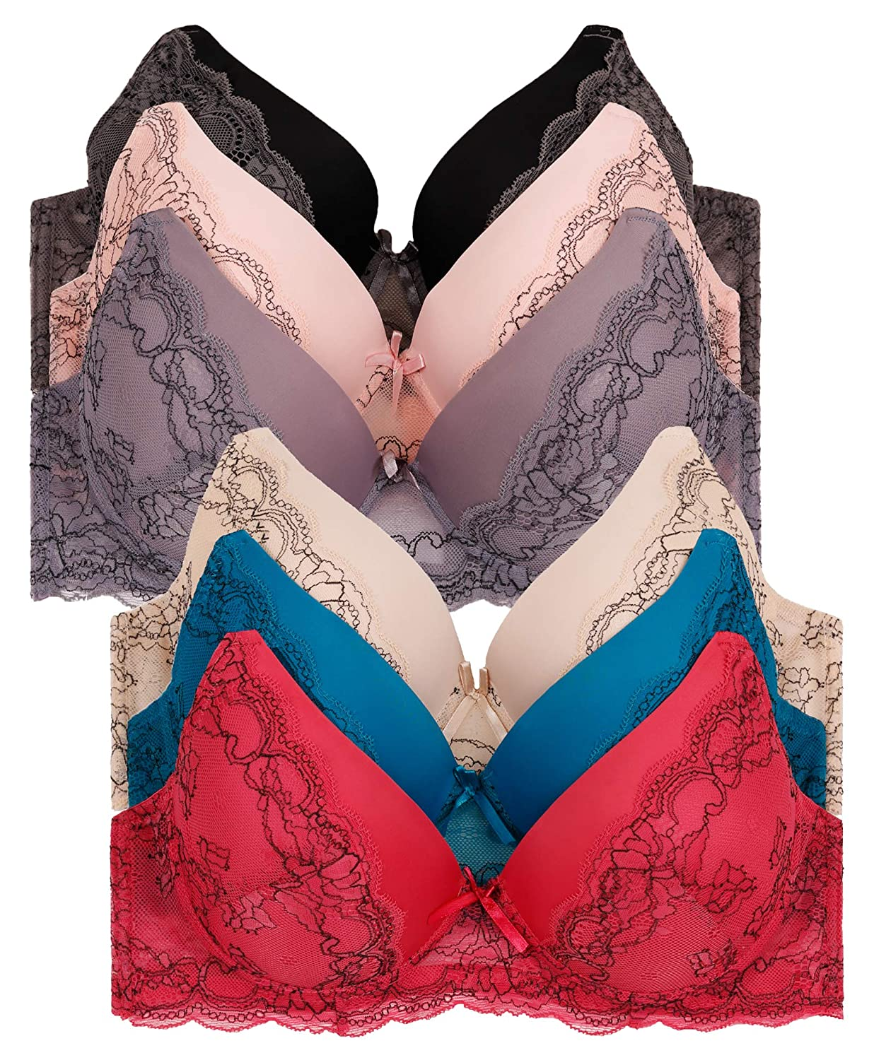 11 (3hooks) 2ND DATE Women's Laced & Plain Lace Bras (Packs of 6)  Various Styles