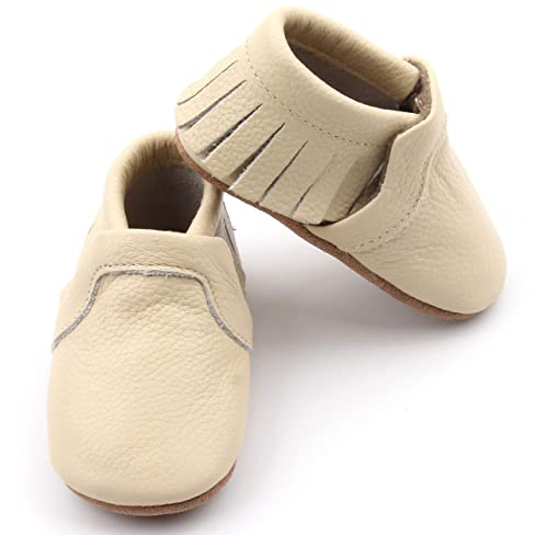 57ad3de8a7263 Amazon.com | POSHBERRY Genuine Leather Baby Moccasin Shoes - Boys ...