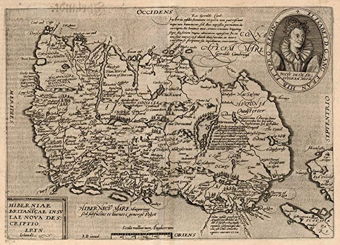 Map Of Ireland 1600.Amazon Com Antique Map Of Ireland Fine Art Print